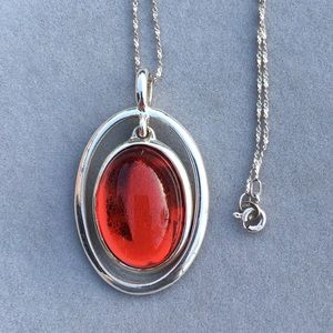 Vintage sterling Italy ruby necklace